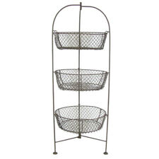 "32"" Standing 3-Tier Wire Metal Basket Fruit Vegetable Holder Stand for Kitchen"