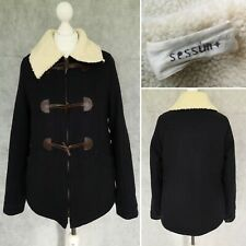 SESSUN Womens Navy Wool Duffle Winter Coat Size S Small Excellent Quality