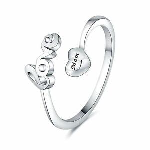 Women Girl 925 Sterling Silver Love Heart Open Ring Adjustable Wedding Band