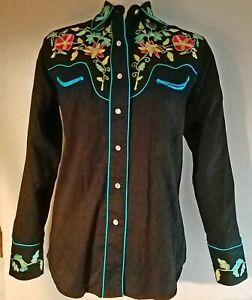Rockmount Ranch Wear Womens Black Floral Embroidered Western Shirt Small