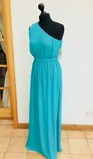 ZARA Tall Grecian Asymmetrical Aqua-Turquoise-Emerald Maxi Holiday UK8-10