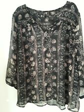 Maurices XXL Black  Sheer Tunic Top Blouse Floral 3/4 Sleeves Sz 3 3X