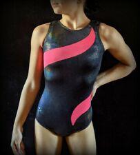 GK Elite Gymnastics Leotard Black Coral Holographic Foil Size CM