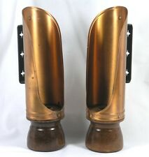 Lovely Pair Colonial Style Candle Holders - Copper on Wood Base