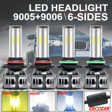 4x 6-Side 9005+9006 Led 3000K 6000K 8000K Headlight Bulbs Hi-Lo Beam lights 200W