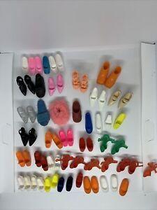 Lot of Vintage Barbie Doll Shoes - High Heels, Sneakers, Slippers