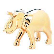 "Gold Ceramic 6"" standing sculpture lucky Raised Trunk elephant figurine statue"