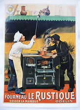 "CPM REPRODUCTION AFFICHE ANCIENNE FOURNEAU ""LE RUSTIQUE"" / CHOCARNE MOREAU 1904"