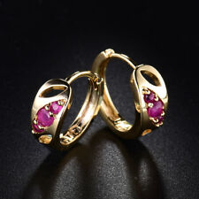 18K Yellow Gold Filled Charms Vintage Red Ruby Crystal Small Round Hoop Earrings