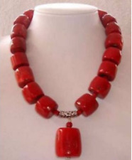 "Natural! Red Cylinder Coral Gemstone Necklace Long 18"" AAA"