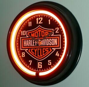 HARLEY DAVIDSON MOTORCYCLES THEMED BAR AND SHIELD  LED SILENT WALL CLOCK.