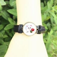 mm Glass Cabochon Leather Charm Bracelet Kitten with Rose Black Bangle 20