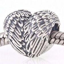 Angel Wings Feather Heart Shape Charm Bead 925 Sterling Silver