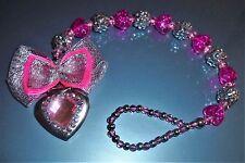 Pink Glitter Shamballa Hearts Luxury Crystal Bling Baby dummy clip chain gift