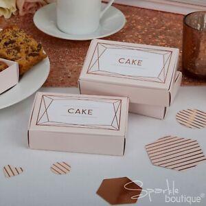 ROSE GOLD / PINK CAKE BOXES x10 - Modern Wedding -FULL GEO BLUSH RANGE IN SHOP