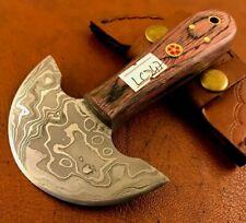Handmade Damascus Steel Saddler-Skiver-Leather Cutter-Leather Sheath-LC247