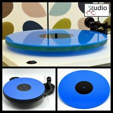 Gloss Blue Acrylic Turntable Platter Mat. Fits REGA, PRO-JECT!