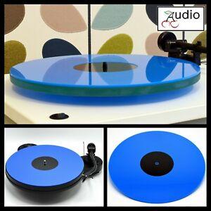 Gloss Blue Acrylic Turntable Platter Mat. Fits REGA, PRO-JECT Record Players