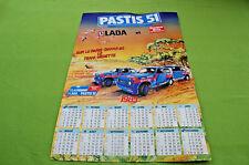 Rare Ancien calendrier  cartonné publicitaire PARIS DAKAR 1985 - PASTIS 51, LADA
