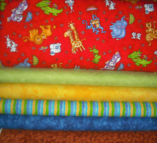 """Flannel Boy Style QUILT Fabric KIT  CRIB SIZE/Lap Size 35"""" x 42"""" Red/Grn/Blue/"""