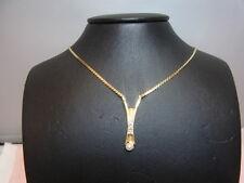 1093-585 G-Goldkette mit Perlen+Zirkon Kettelang 42 cm Lang 3 cm Gewicht 7,2 gr