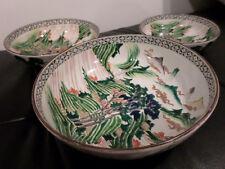 3 Beautiful Graduated Antique Kutani Bowls Very Rare