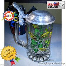 """¤ Vintage Beer Stein Glass Hopfen Und Malz Gott Echalt's 6"""" Tall Wheat & Hops ¤"""