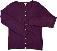 APT 9 Small 100% Cashmere Sweater Womens Button Up Cardigan Scoop Neck Purple