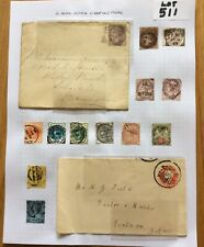 GB Queen Victoria 12 Stamps 2 Covers On A Album Page High Catalogue (Lot 511)