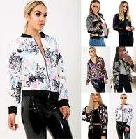 Women Ladies Floral Camouflage Striped Mermaid Designer Zipper Bomber Jacket New