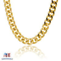 "Men's Gold Plated 18 mm Large Cuban Chain Necklace ALM005 18"" 20"" 24"" 30"" 36"""