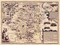 Map Antique Speed 1610 Hertfordshire Historic Large Replica Canvas Art Print