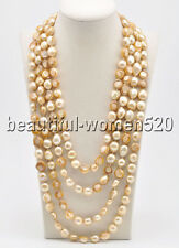 Z8461 Long 15mm Yellow Baroque Freshwater Pearl Necklace 100inch