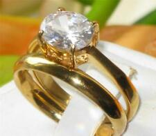 Unbranded Yellow Gold Plated Band Oval Costume Rings