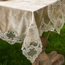 Solid Lace Rectangle Velvet Tablecloth Square Soft Home Decor Coffee Table Cover