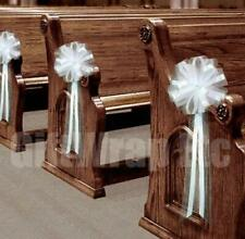 """White Tulle Wedding Pull Bows for Church Pews - 9"""" Wide, Set of 4, Aisle Decor"""