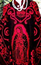 Women Jorongo Poncho Gavan Mexican Handmade Virgen Guadalupe Reversible 2 in 1