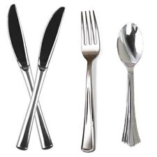 54 Quality Plastic Silver Cutlery Disposable Forks Knives Spoons Party Picnic