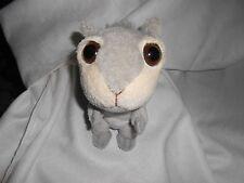 "Gray Cream Squirrel Plush Big Eye Brown White Eyes 8"" Lovey"