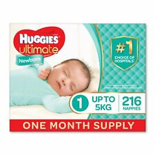 Huggies Ultimate Nappies Unisex Size 1 Newborn 5kg 216 Count One-Month Supply