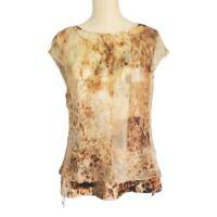 Elie Tahari 100% Silk Layered Animal Print Top Womens Size M Medium