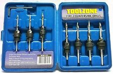 22pc Fuselé Drill Bits Countersink Set Stop Collars Hex Key Wood Pilote Hole À faire soi-même