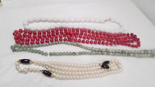 Lot Vintage Plastic Bead Necklaces ~ Red & Black, White, Pearl, Green