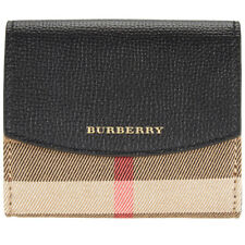 Burberry House Check and Leather Wallet- Black
