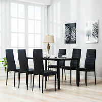 7 Piece Kitchen Dining Set Wood Top Table 6 Leather Chairs Breakfast Furniture
