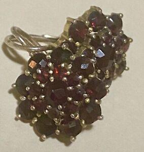 12K Yellow Gold fill Bohemian Garnet -Rose Cut - 3 Teared Lever Back Earrings