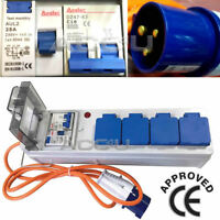 Caravan Camping Site 4 Way Mains Sockets Mobile Power Hookup Lead RCD Unit LW571