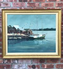Damascotta Maine Harbor Lobster Fisherman Painting By Giragos Der Garabedian.