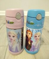 2x Frozen Thermo Funtainer Elsa Princess Anna insulated Straw Bottle Pink Blue
