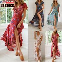 Women Boho Floral Long Dress Ladies Holiday Summer Beach Short Sleeve Maxi Dress
